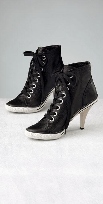 Ash Black Sound Leather High Heel Sneaker $165