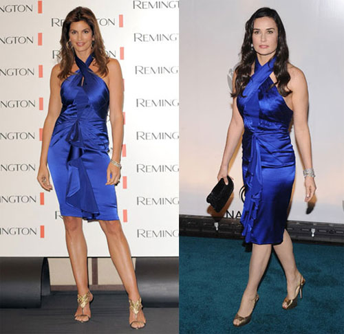 cindy crawford demi moore blue dress Mavi Abiye Modelleri