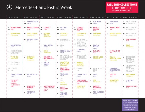 Mercedes Benz Fashion Week | Fall 2010 Schedule