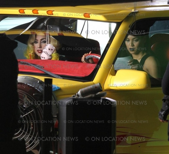 "Beyoncé & Lady Gaga On Set For New Music Video ""Telephone"""