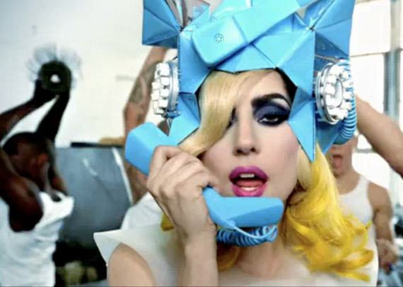 LADY GAGA – TELEPHONE HAT BY FRED BUTLER, DRESS BY RACHEL BARRETT