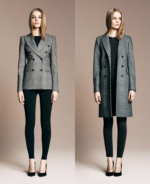 Двубортный пиджак, серое двубортное пальто в клетку, все Zara.